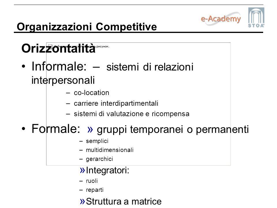 Informale: – sistemi di relazioni interpersonali
