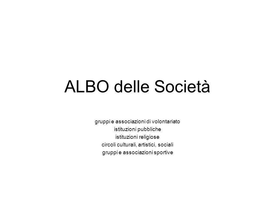 ALBO delle Società gruppi e associazioni di volontariato