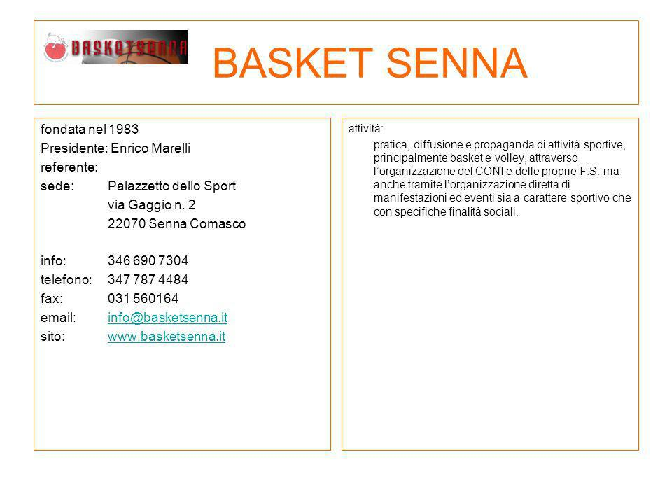 BASKET SENNA fondata nel 1983 Presidente: Enrico Marelli referente: