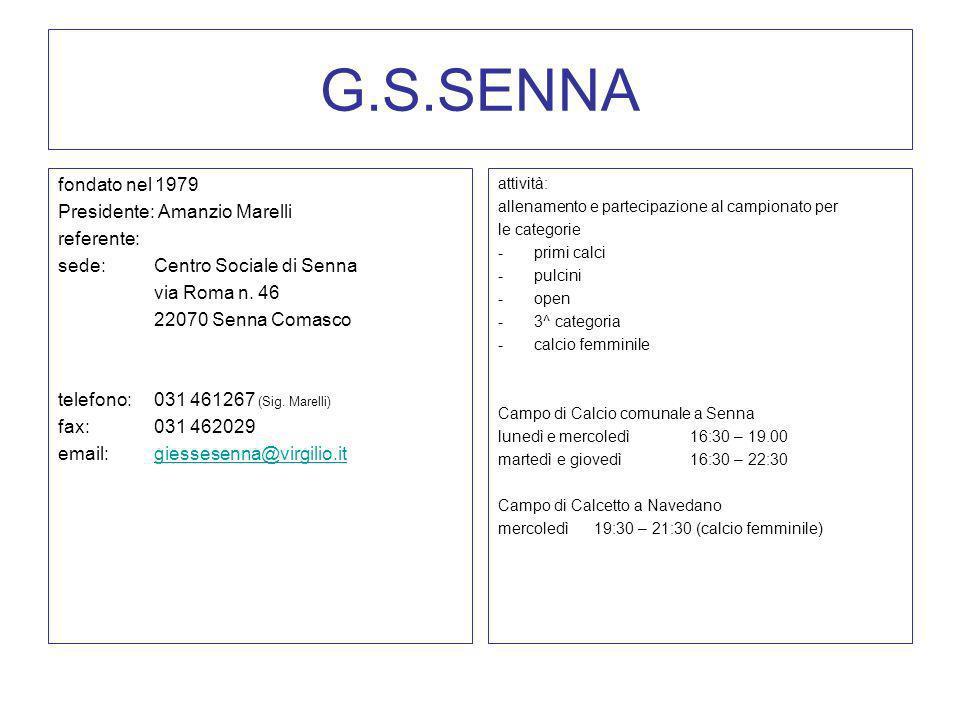 G.S.SENNA fondato nel 1979 Presidente: Amanzio Marelli referente: