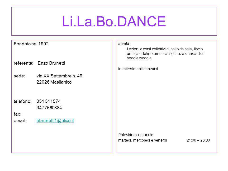 Li.La.Bo.DANCE Fondato nel 1992 referente: Enzo Brunetti