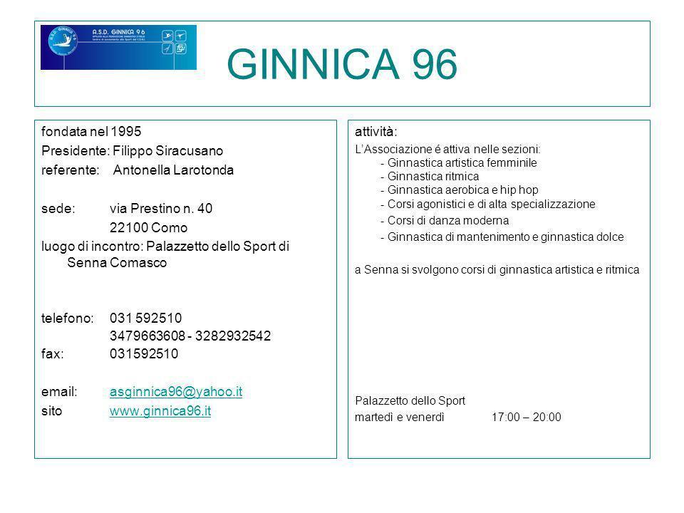 GINNICA 96 fondata nel 1995 Presidente: Filippo Siracusano