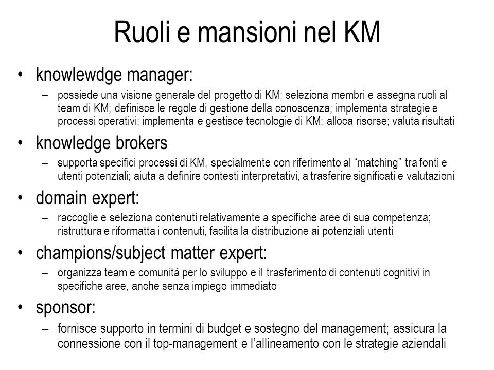 Ruoli e mansioni nel KM knowlewdge manager: knowledge brokers