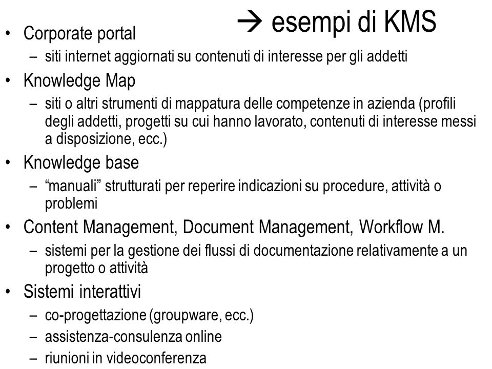 esempi di KMS Corporate portal Knowledge Map Knowledge base