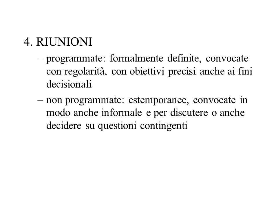 4. RIUNIONI programmate: formalmente definite, convocate con regolarità, con obiettivi precisi anche ai fini decisionali.