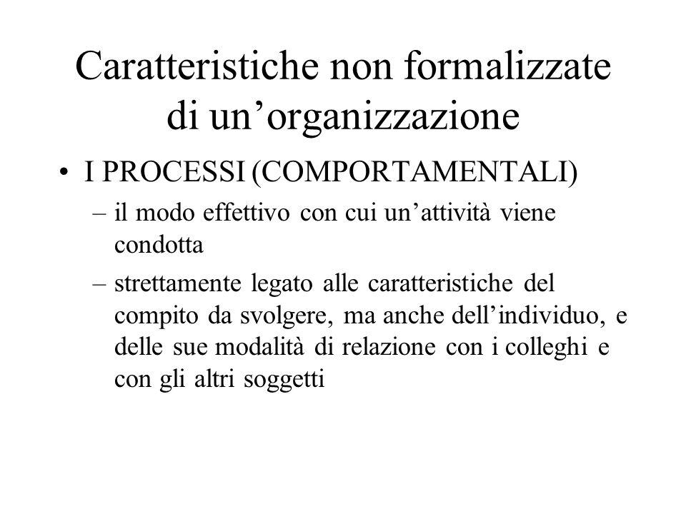 Caratteristiche non formalizzate di un'organizzazione
