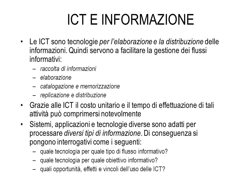 ICT E INFORMAZIONE