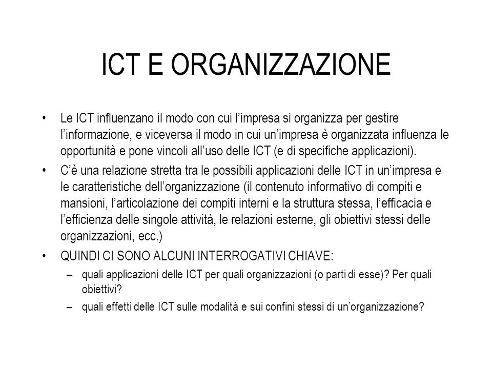 ICT E ORGANIZZAZIONE