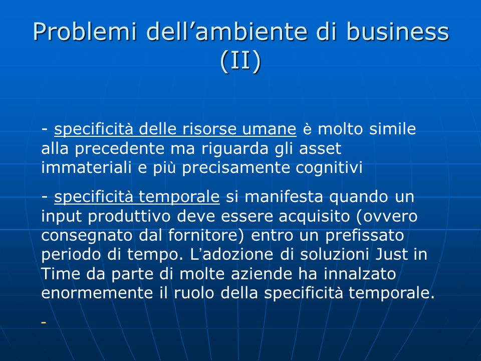 Problemi dell'ambiente di business (II)