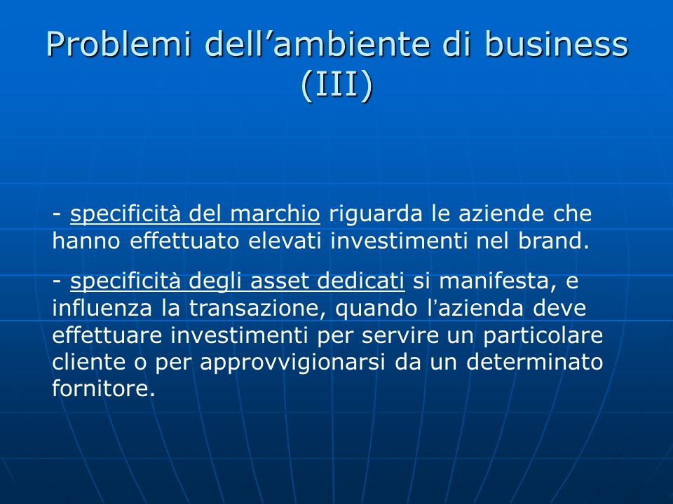 Problemi dell'ambiente di business (III)