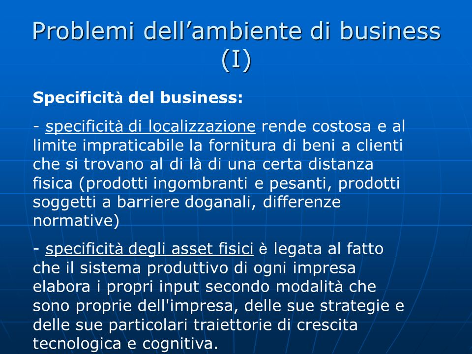 Problemi dell'ambiente di business (I)