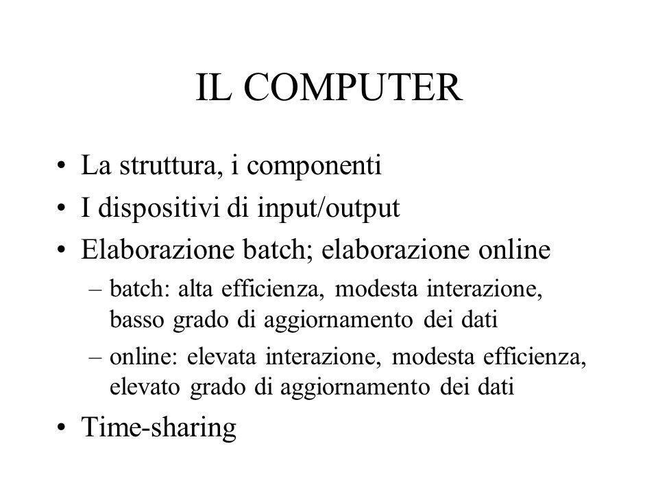 IL COMPUTER La struttura, i componenti I dispositivi di input/output