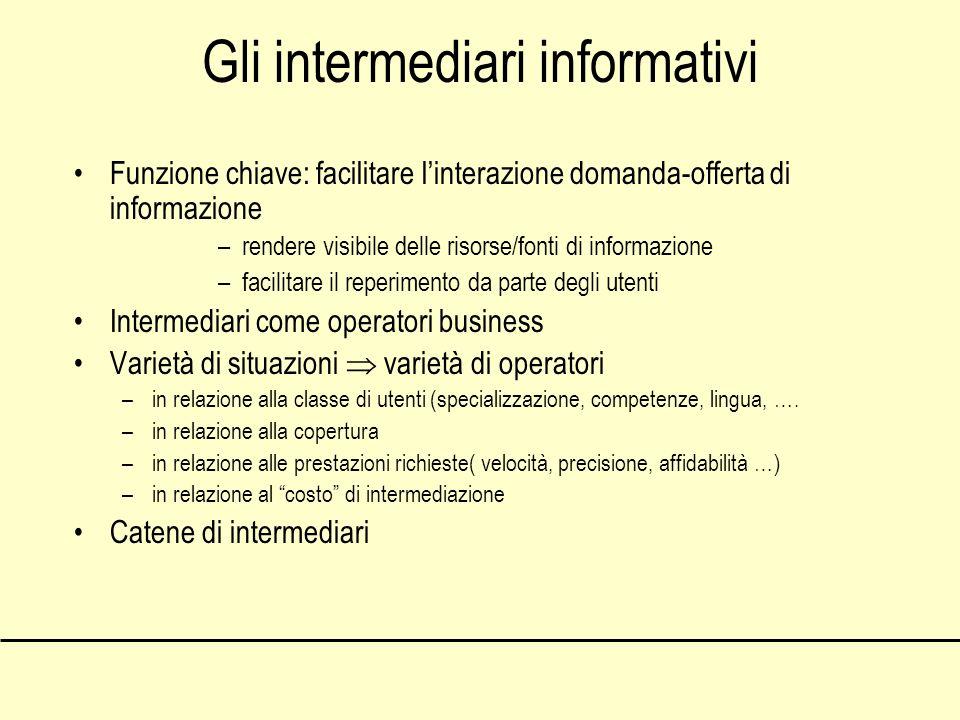 Gli intermediari informativi