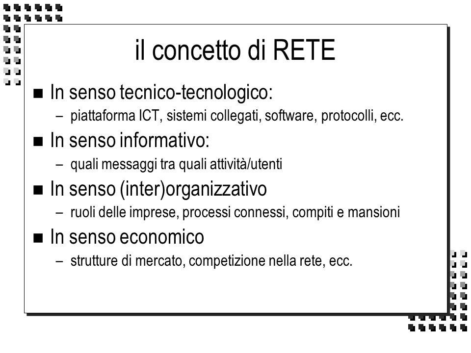 il concetto di RETE In senso tecnico-tecnologico:
