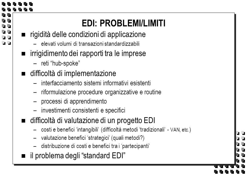 EDI: PROBLEMI/LIMITI rigidità delle condizioni di applicazione