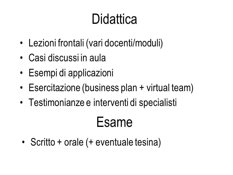 Didattica Esame Lezioni frontali (vari docenti/moduli)
