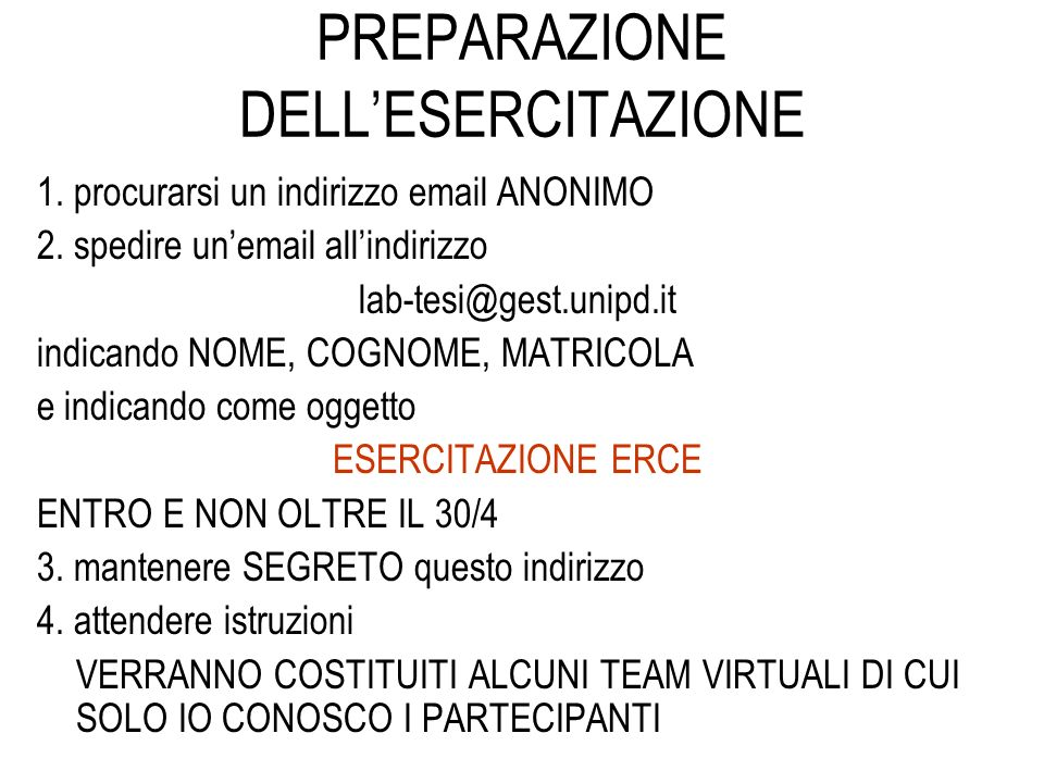 PREPARAZIONE DELL'ESERCITAZIONE