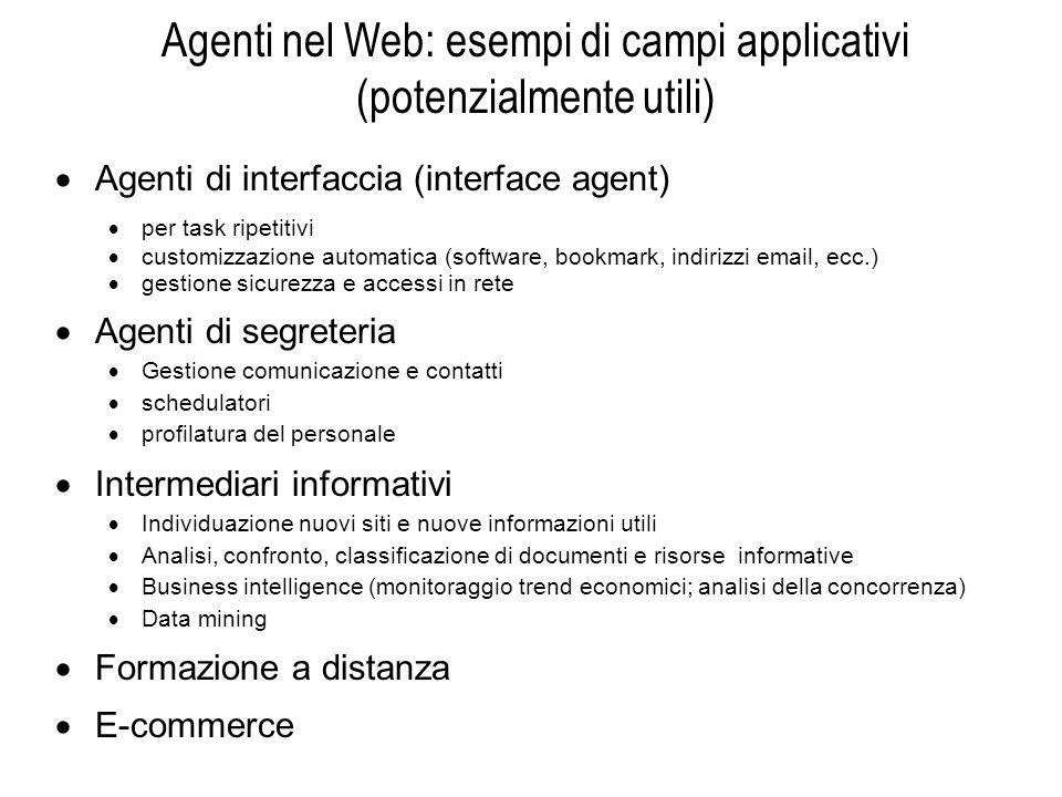 Agenti nel Web: esempi di campi applicativi (potenzialmente utili)