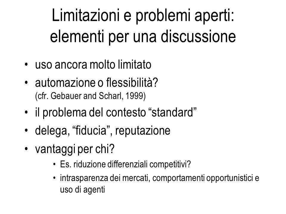 Limitazioni e problemi aperti: elementi per una discussione