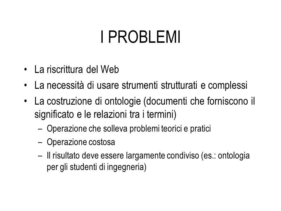 I PROBLEMI La riscrittura del Web