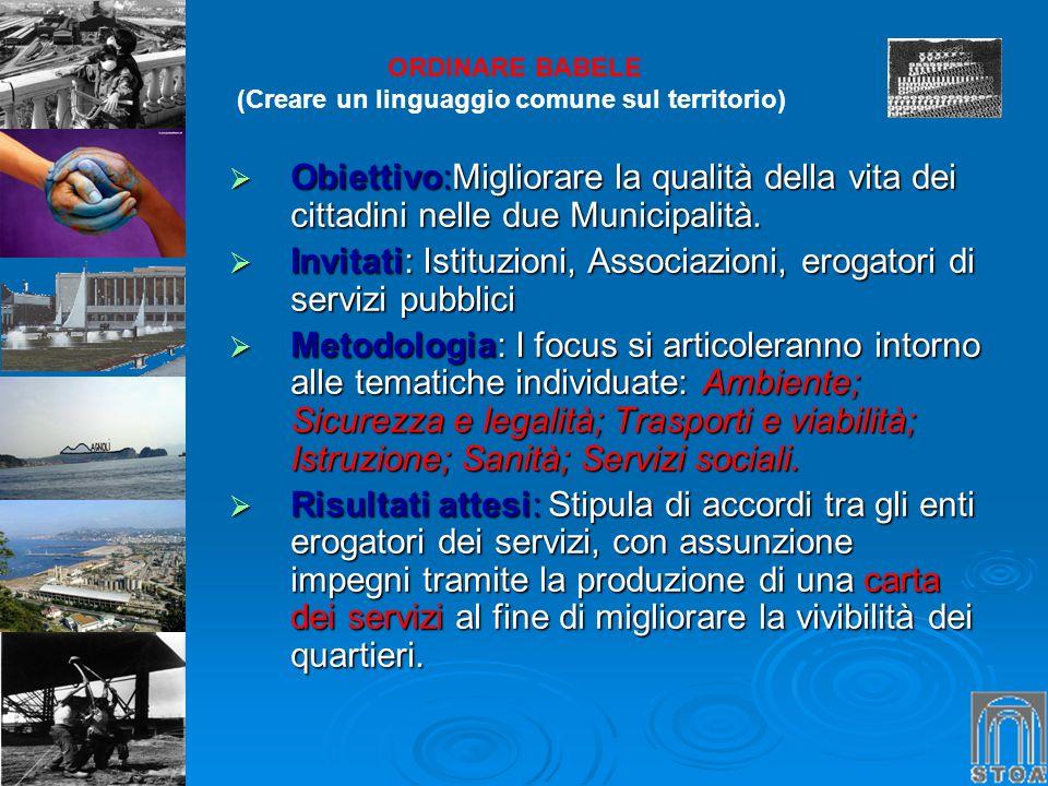 Invitati: Istituzioni, Associazioni, erogatori di servizi pubblici