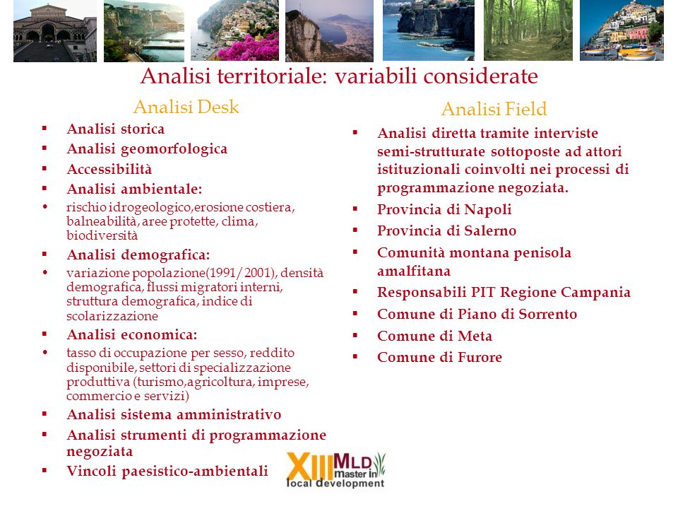 Analisi territoriale: variabili considerate