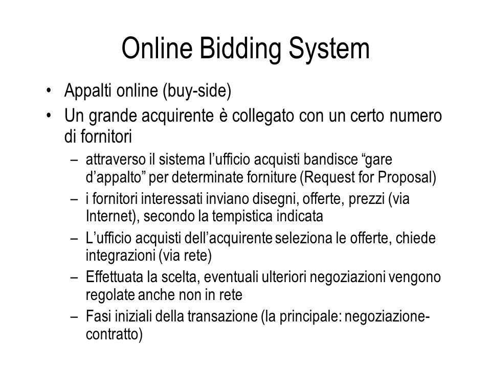 Online Bidding System Appalti online (buy-side)