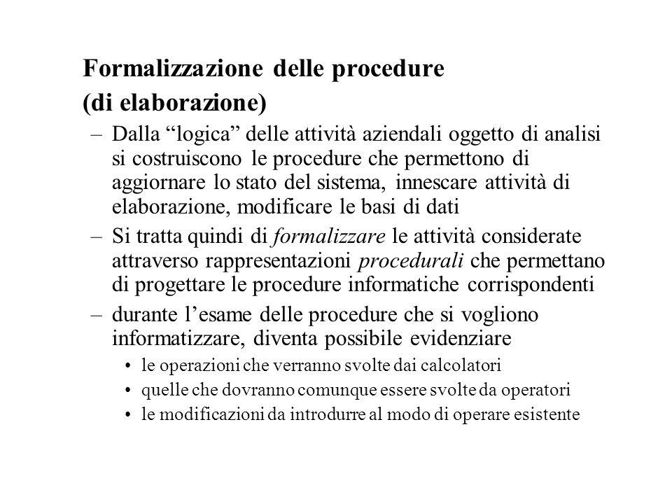 Formalizzazione delle procedure (di elaborazione)