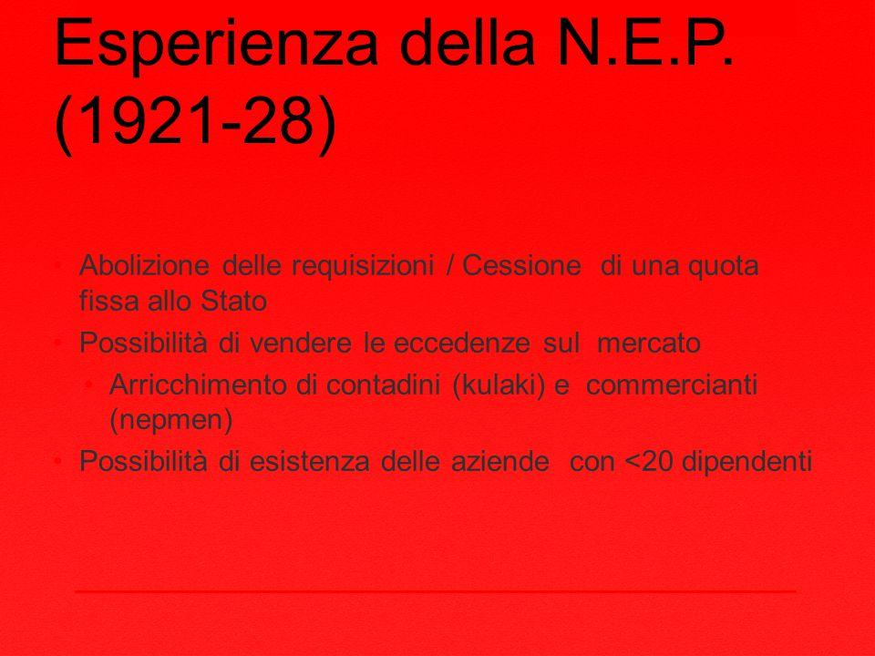 Esperienza della N.E.P. (1921-28)
