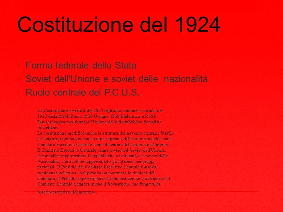 Costituzione del 1924 Forma federale dello Stato