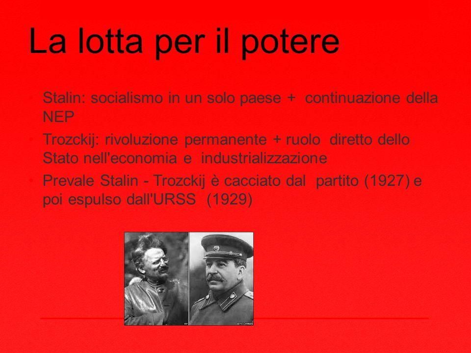 La lotta per il potere Stalin: socialismo in un solo paese + continuazione della NEP.