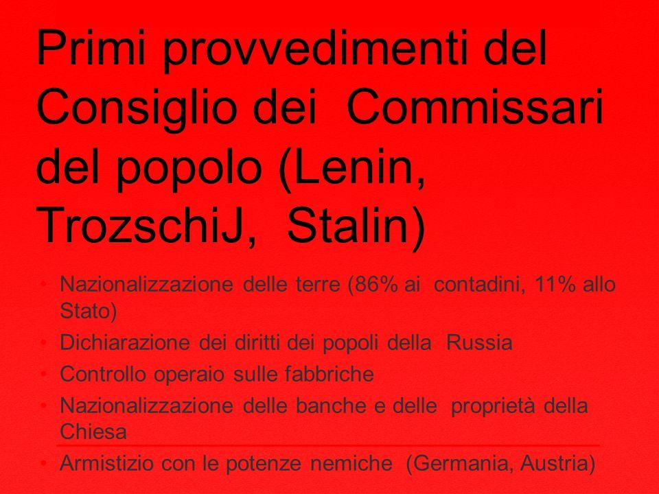 Primi provvedimenti del Consiglio dei Commissari del popolo (Lenin, TrozschiJ, Stalin)