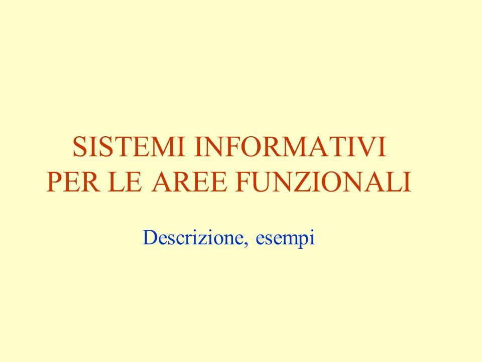 SISTEMI INFORMATIVI PER LE AREE FUNZIONALI