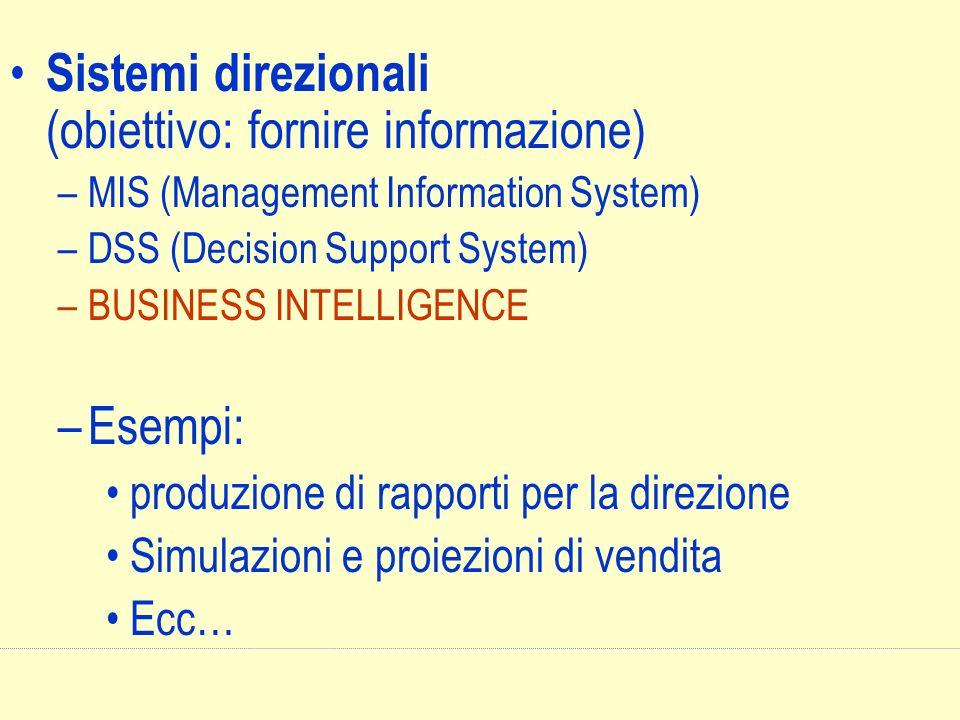 Sistemi direzionali (obiettivo: fornire informazione)
