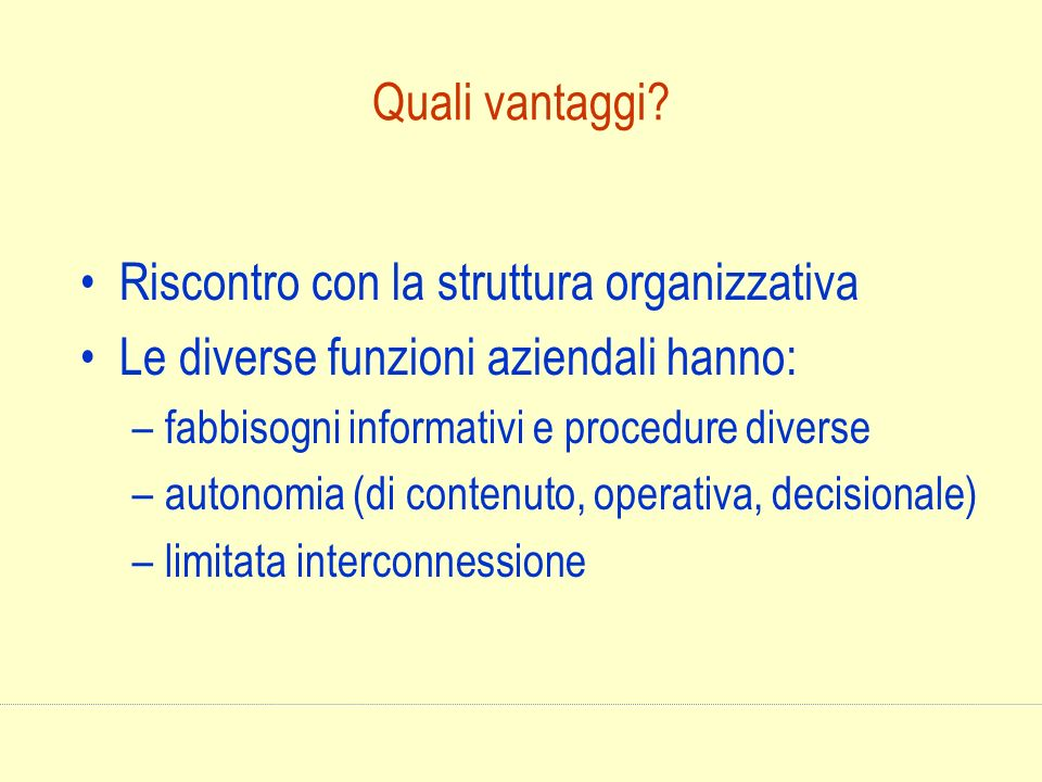 Riscontro con la struttura organizzativa