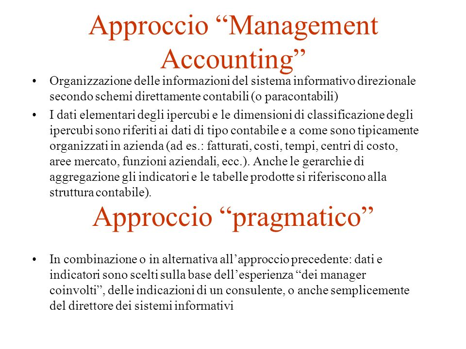 Approccio Management Accounting