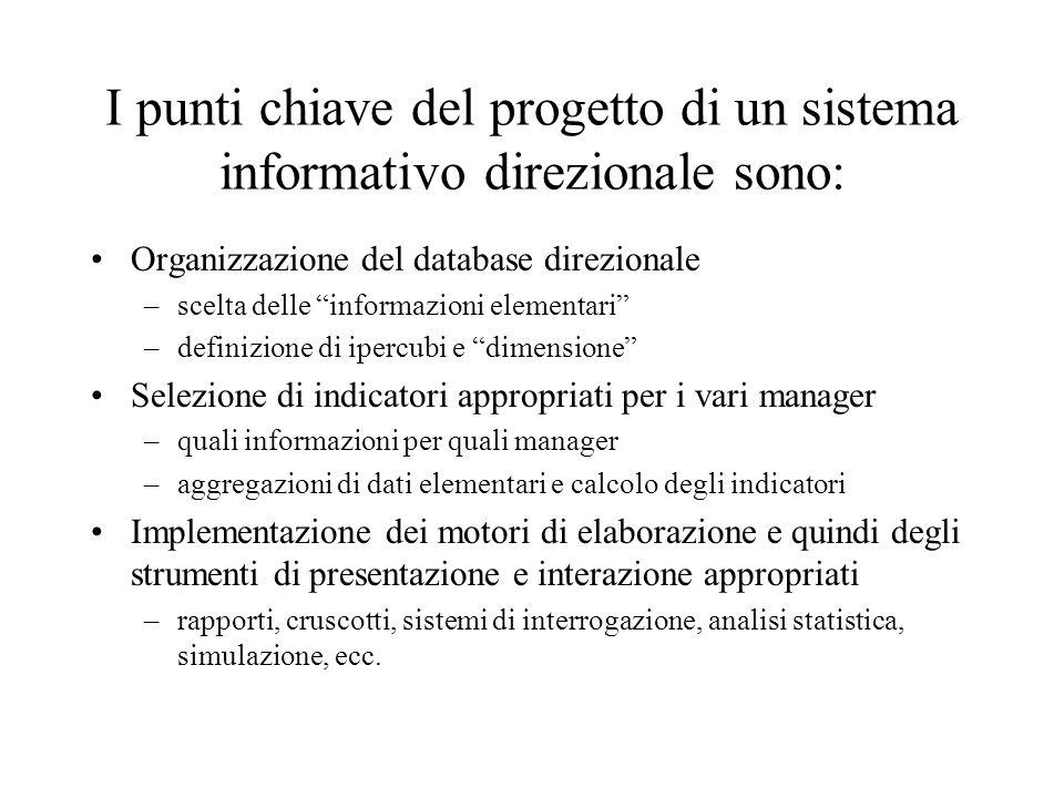 I punti chiave del progetto di un sistema informativo direzionale sono: