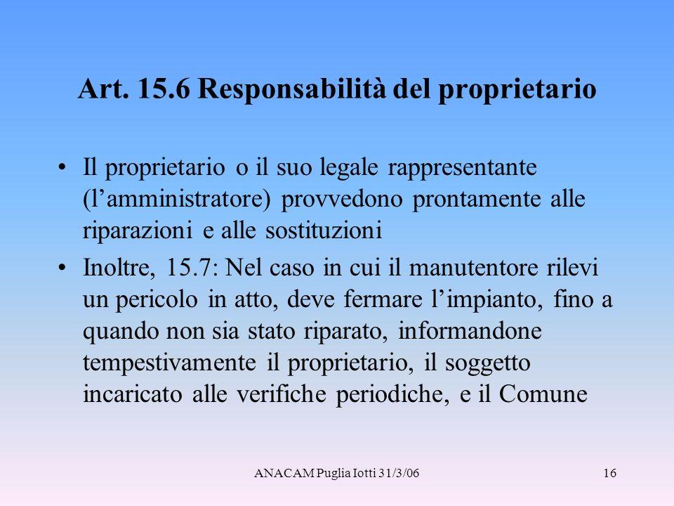 Art. 15.6 Responsabilità del proprietario