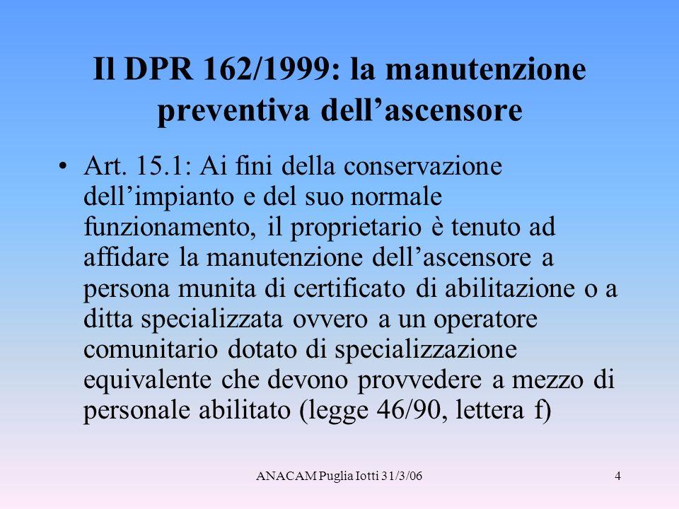 Il DPR 162/1999: la manutenzione preventiva dell'ascensore