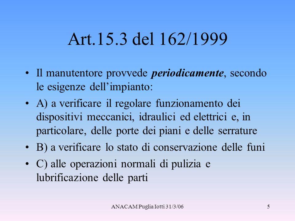 Art.15.3 del 162/1999 Il manutentore provvede periodicamente, secondo le esigenze dell'impianto: