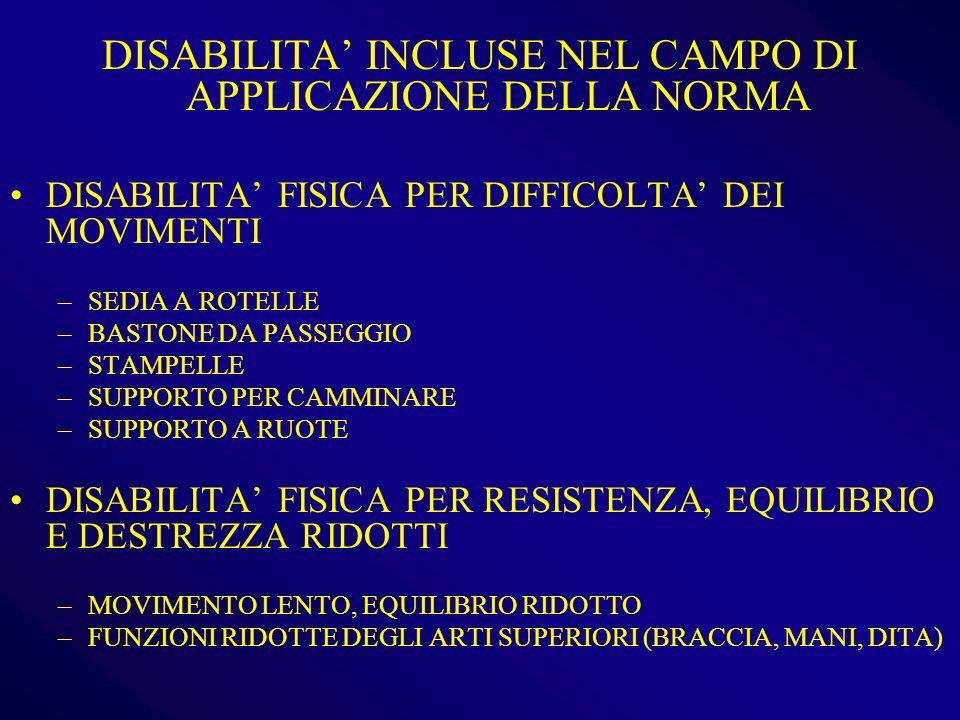 DISABILITA' INCLUSE NEL CAMPO DI APPLICAZIONE DELLA NORMA