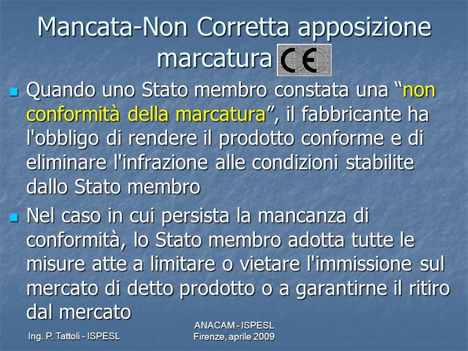 Mancata-Non Corretta apposizione marcatura CE