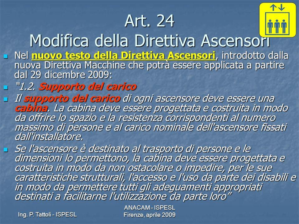 Art. 24 Modifica della Direttiva Ascensori