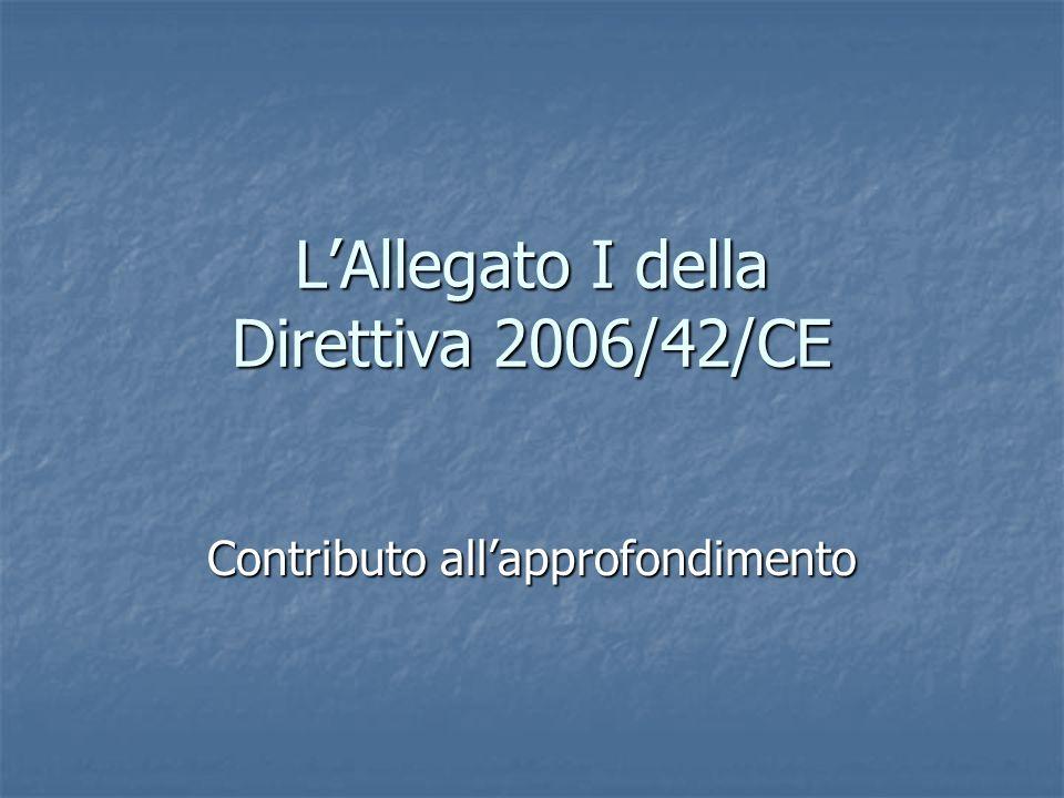 L'Allegato I della Direttiva 2006/42/CE