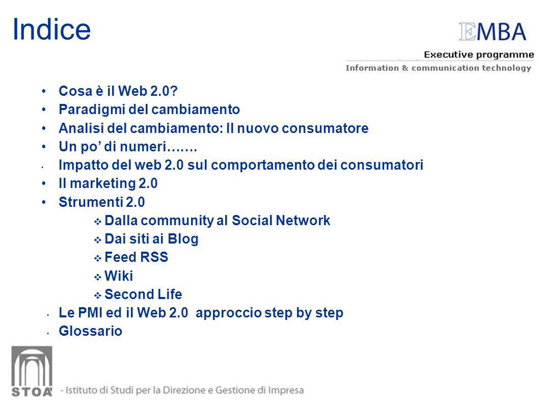 Indice Cosa è il Web 2.0 Paradigmi del cambiamento