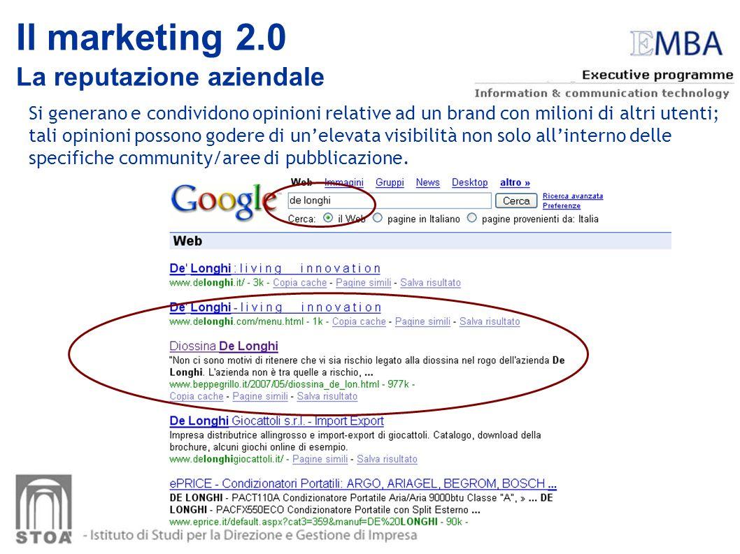 Il marketing 2.0 La reputazione aziendale