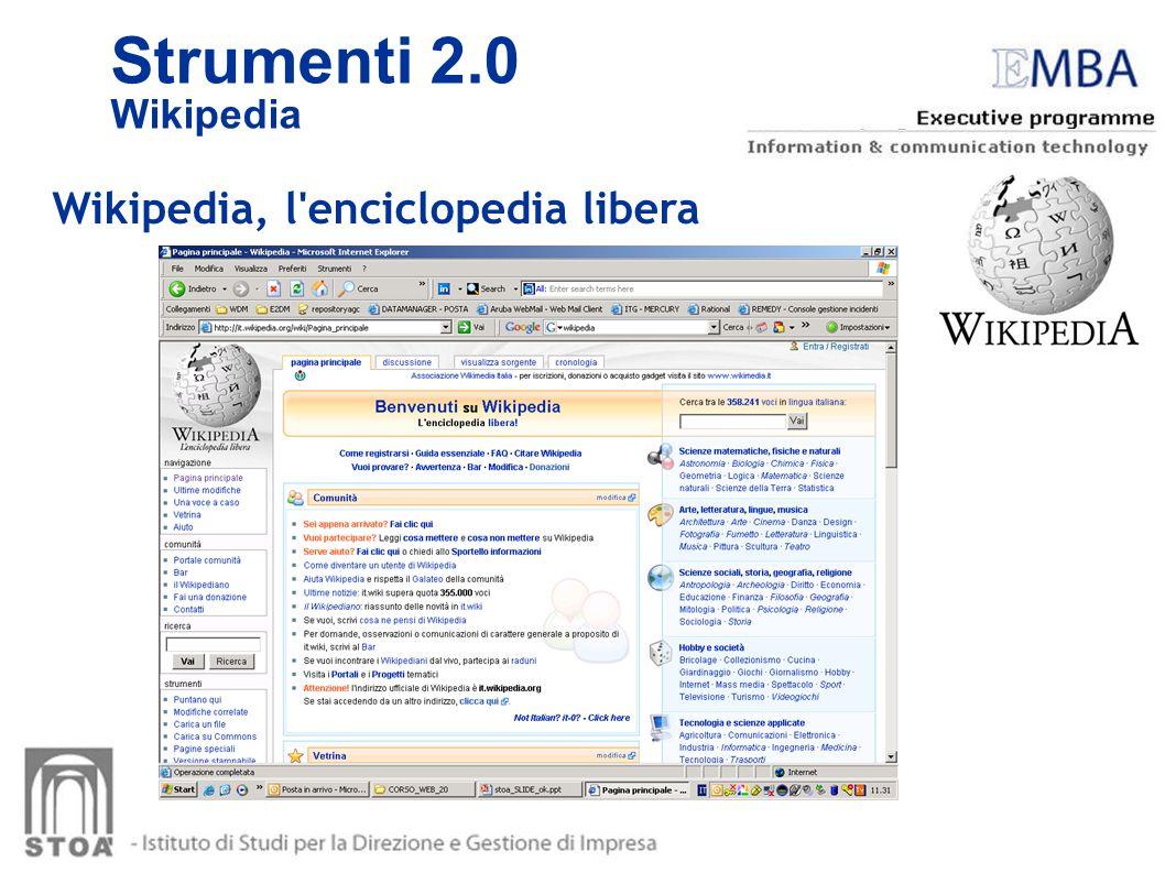 Strumenti 2.0 Wikipedia Wikipedia, l enciclopedia libera