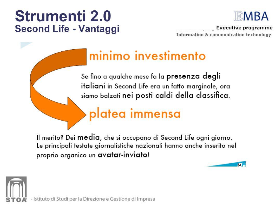 Strumenti 2.0 Second Life - Vantaggi