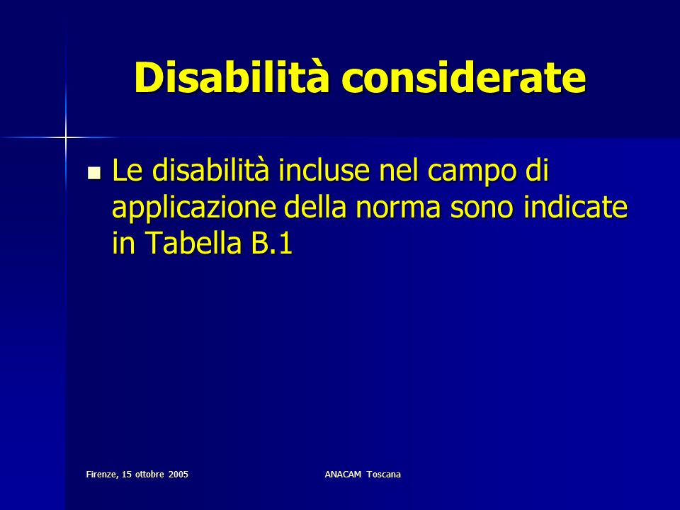 Disabilità considerate