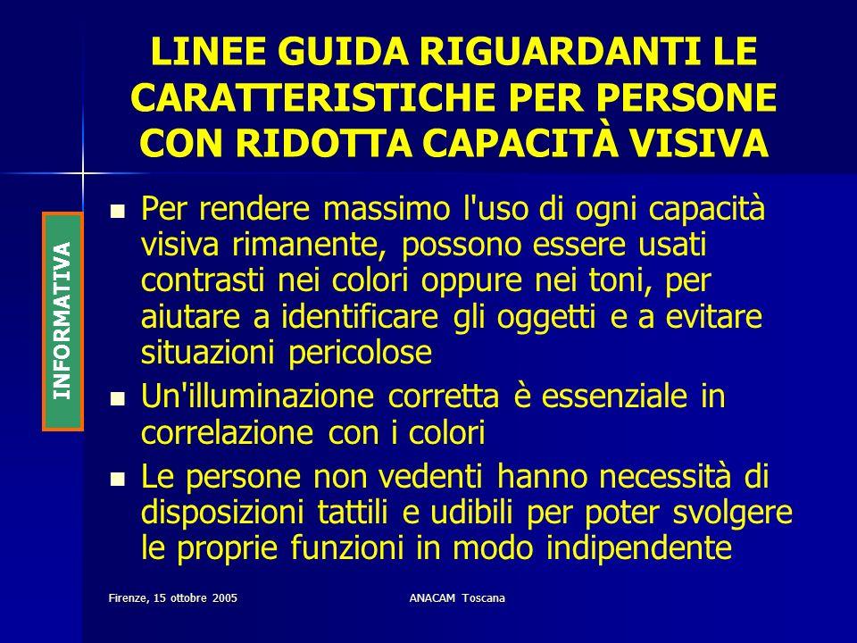 LINEE GUIDA RIGUARDANTI LE CARATTERISTICHE PER PERSONE CON RIDOTTA CAPACITÀ VISIVA
